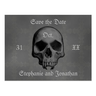 Gothic horror skull | Save the date Postcard