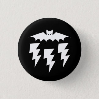 Gothic Industrial Bat Cat Lightning Storm 3 Cm Round Badge