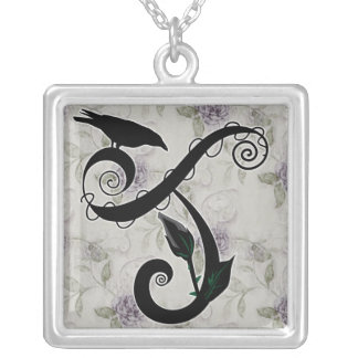 Gothic Initial J Necklace