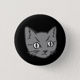 Gothic Kitty Cat Face 3 Cm Round Badge