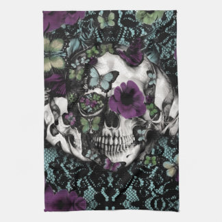 Gothic lace skull in teal and purple tea towel