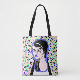 Gothic Lady on Colorful Background Tote Bag
