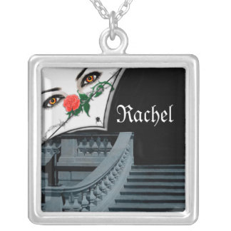 Gothic Lady Peeking Over Staircase Halloween Pendant