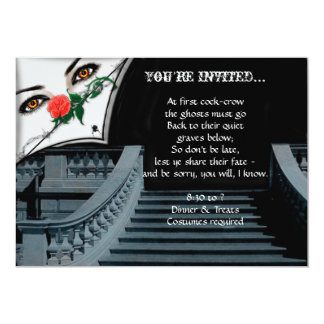 Gothic Lady Peeking Over Staircase Halloween Party Personalized Invites