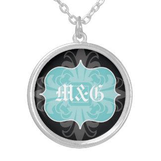 Gothic letter monogram initials blue black emblem round pendant necklace
