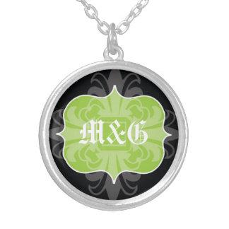 Gothic letter monogram initials green black emblem round pendant necklace
