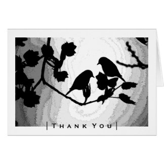 Gothic Love Birds Silhouettes Thank You Cards