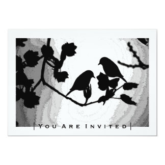 Gothic Love Birds Silhouettes Wedding Invitations