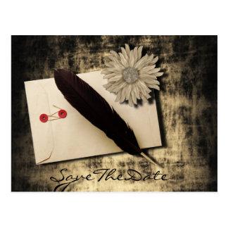 gothic love steampunk wedding save the date postcard