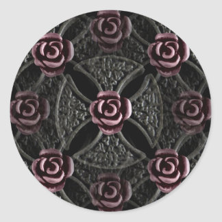 Gothic medieval iron cross with rose round sticker