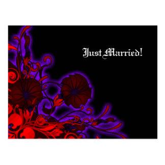 Gothic Nightshade Modern Floral Wedding Postcard