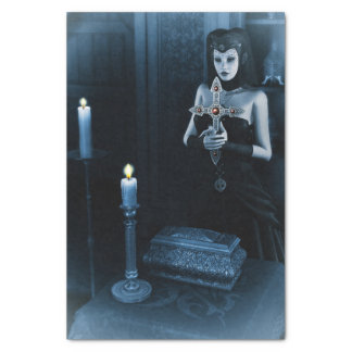 Gothic Nun holding cross Tissue Paper