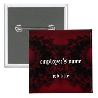 Gothic Paisley Employee Name Tag Button