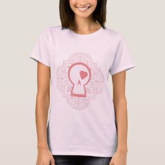Gothic Pattern Skull Logo in pink T-Shirt