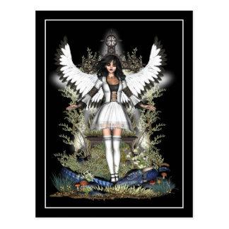 Gothic Postcard - White Angel & Dragon