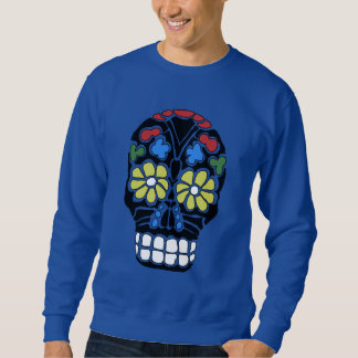 Gothic punk black flower eyes skull sweatshirt