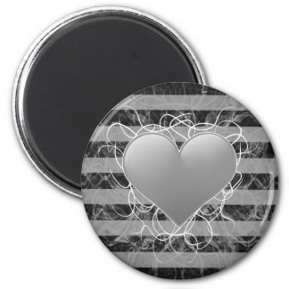 Gothic punk emo black and white heart with stripes magnet