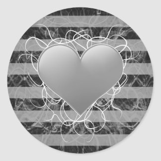 Gothic punk emo black and white heart with stripes round stickers