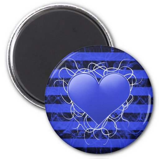 Gothic punk emo blue heart with black stripes magnet