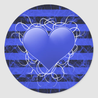 Gothic punk emo blue heart with black stripes classic round sticker