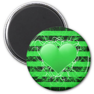 Gothic punk emo green heart with black stripes 6 cm round magnet