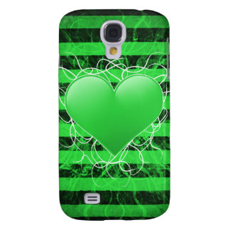 Gothic punk emo green heart with black stripes samsung galaxy s4 cases