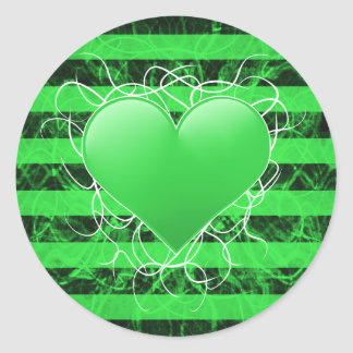 Gothic punk emo green heart with black stripes classic round sticker