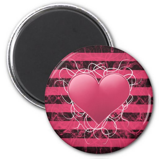 Gothic punk emo pink heart with black stripes refrigerator magnets