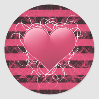Gothic punk emo pink heart with black stripes stickers
