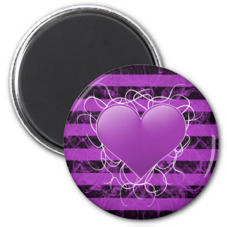 Gothic punk emo purple heart with black stripes magnet