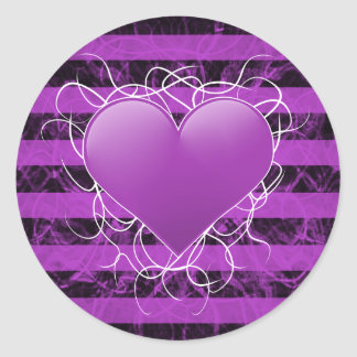 Gothic punk emo purple heart with black stripes classic round sticker