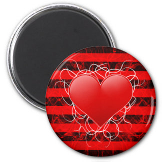 Gothic punk emo red heart with black stripes fridge magnets
