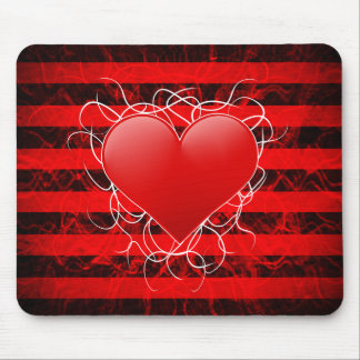 Gothic punk emo red heart with black stripes mouse pad