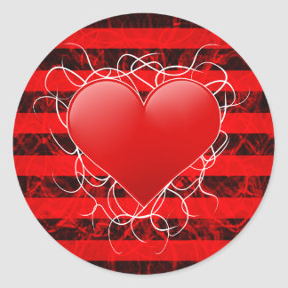 Gothic punk emo red heart with black stripes round stickers