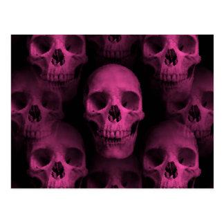 Gothic punk girly hot pink cute skull postcard