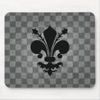Gothic punk gray checkerboard black fleur de lis mouse pad