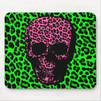 Gothic Punk Skull Green Pink Leopard Print Mouse Pad