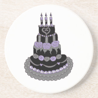 Gothic Purple Birthday Cake Coaster
