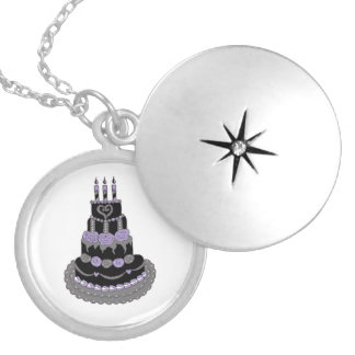 Gothic Purple Birthday Cake Necklace