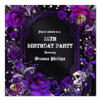Gothic Purple Black Roses Skulls Bling Invitation