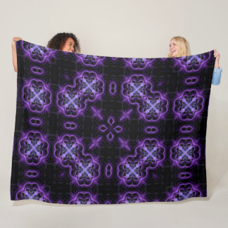 Gothic Purple Dragonfly Lotus Spirit Mandala Fleece Blanket
