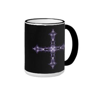 Gothic Purple Fractal Cross Coffee Mugs