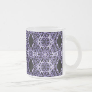Gothic Purple Lace Fractal Pattern Frosted Glass Mug