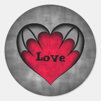 Gothic red heart Valentine's day Love Classic Round Sticker