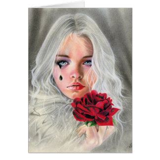 Gothic Red Rose mime girl  emotional CARD