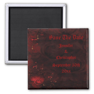 Gothic Red Roses Save The Date Wedding Magnet