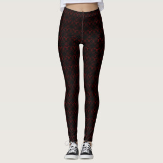 Gothic Red Seal of Bael on Black Leggings