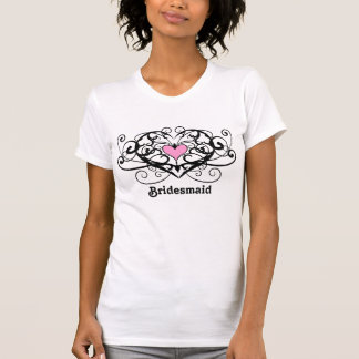 Gothic romance swirls and hearts bridesmaid tshirt