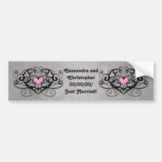Gothic romance swirls and hearts just married car bumper sticker