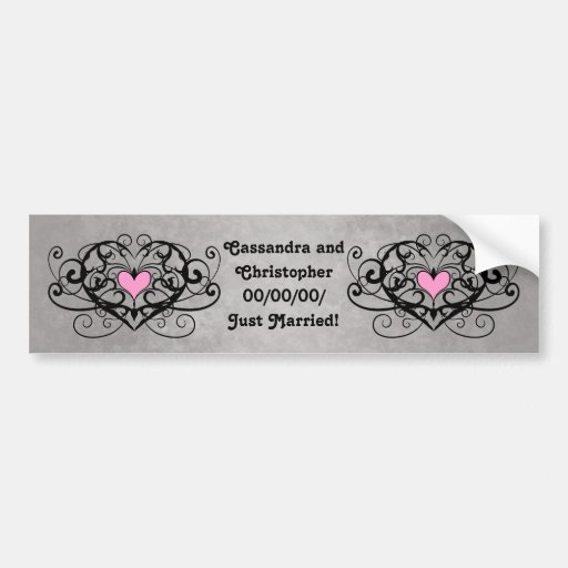 Gothic romance swirls and hearts just married bumper stickers